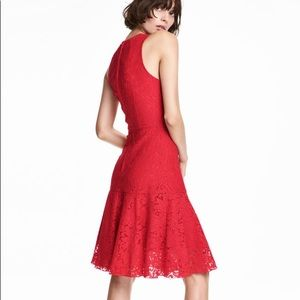 Red Lace Bottom Flare Dress